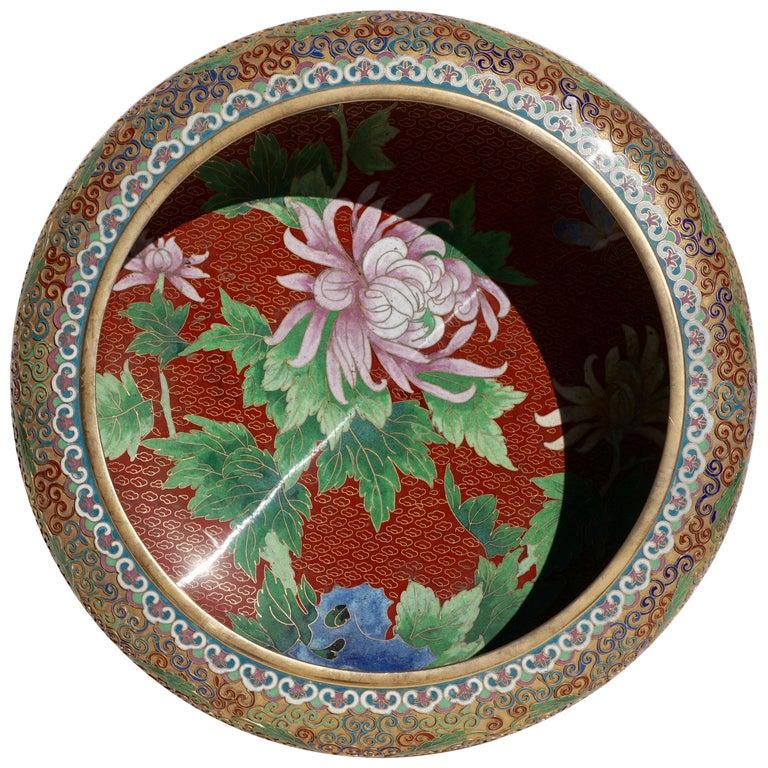 Large Chinese Cloisonné Champlevé Floral Bowl For Sale