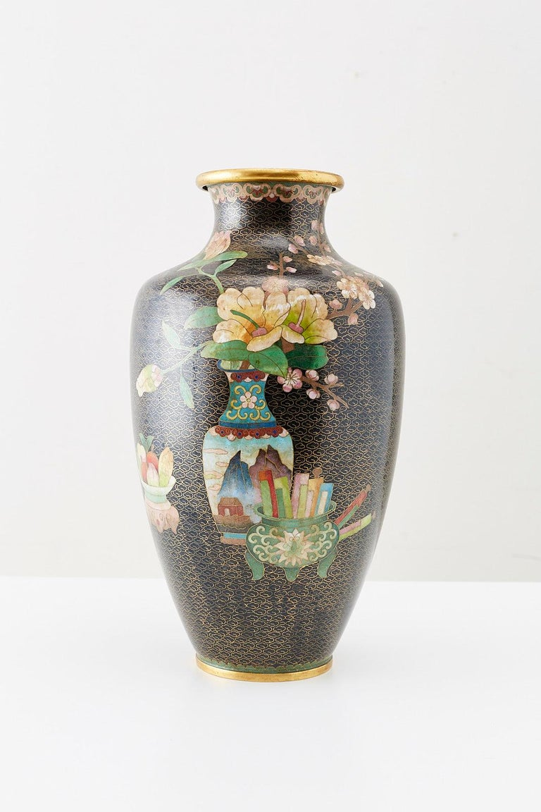 Qing Large Chinese Cloisonné Vase with Floral Decoration For Sale