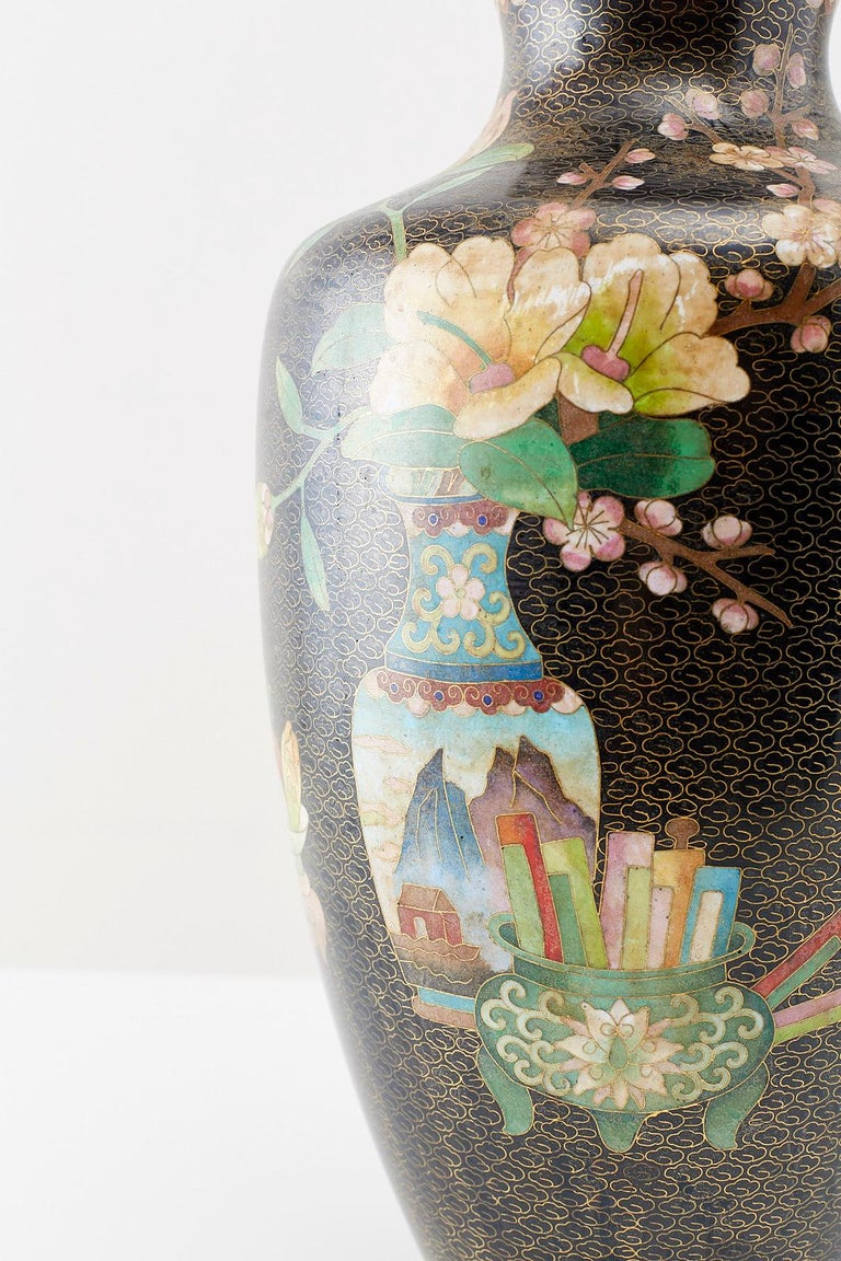Large Chinese Cloisonné Vase with Floral Decoration In Good Condition For Sale In Oakland, CA