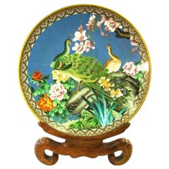 Large Chinese Closene Charger with Peacocks on Original Wood Stand
