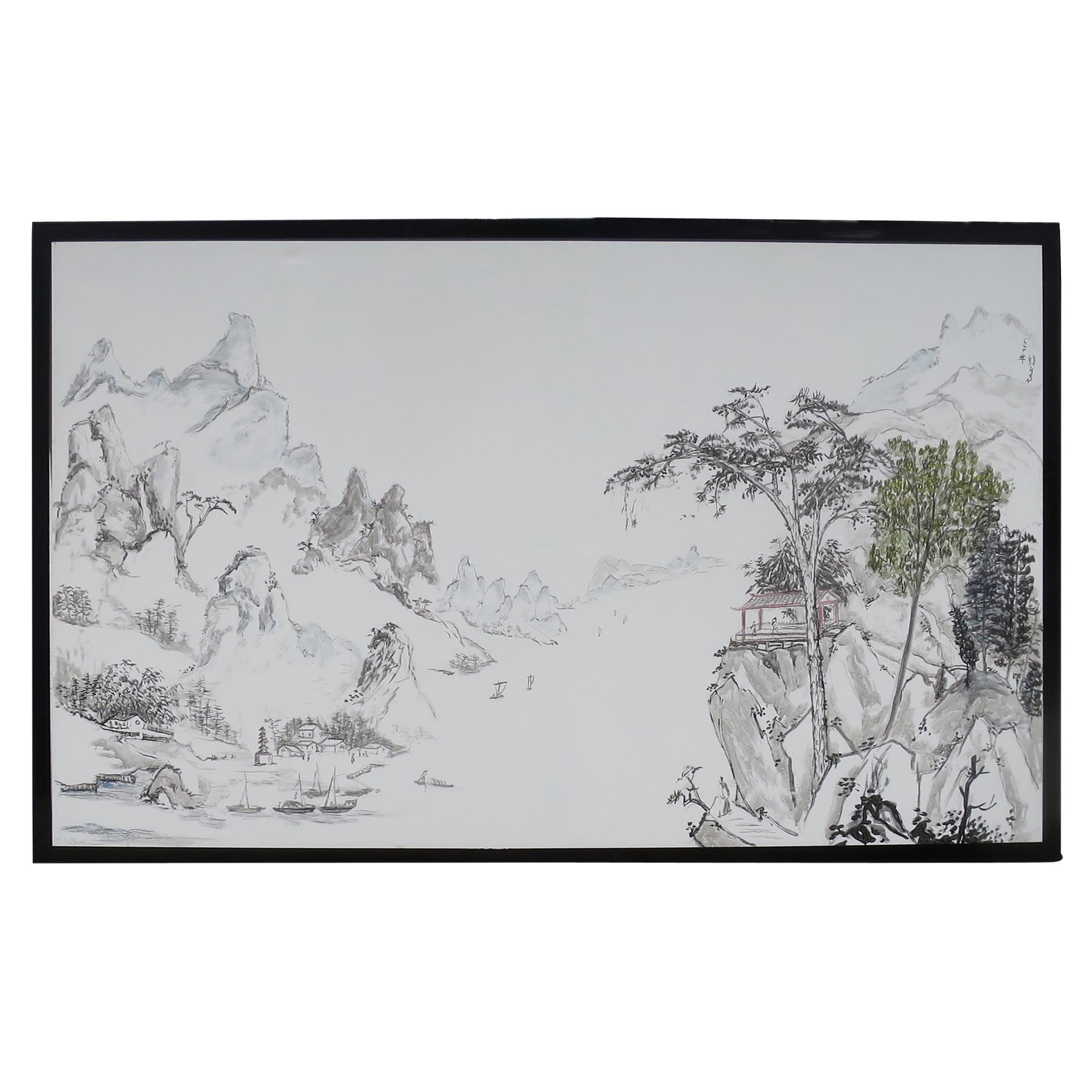 Large Chinese Contemporary Animated Landscape Signed Panel Painted on Paper