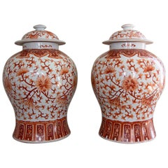 Large Chinese Covered Vases in Withe and Red Porcelain, 19th Century