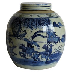 Large Chinese Export Lidded Jar Blue and White Hand Painted, Mid-20th Century