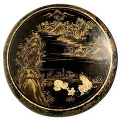 Large Chinese Export Round Black Lacquer Gilt Painted Box, Mid 20th Century