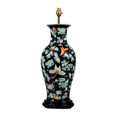 Large Chinese Export Table Lamp, Famille Noir with Butterfly Decoration