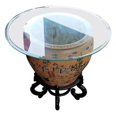 Large Chinese Fish Bowl Side Table with Stand