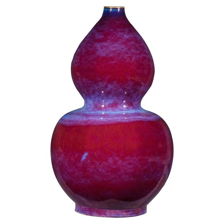 Large Chinese Flambé Glazed Double-Gourd Vase or Huluping For Sale
