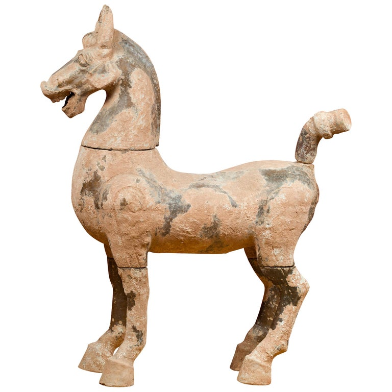 Large Chinese Han Dynasty Period Terracotta Horse, circa 202 BC-200 AD For Sale