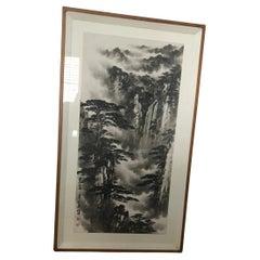 Large Chinese Landscape Painting Framed Signed