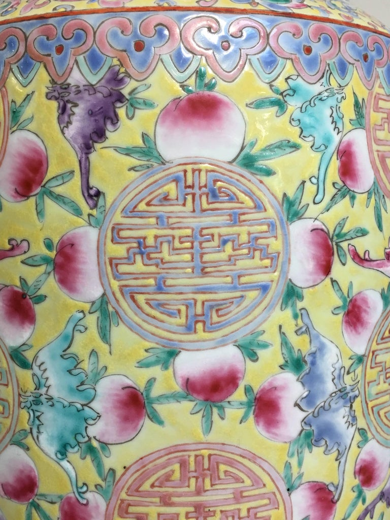 Large Chinese Late Republic Period Famille Jaune et Rose Porcelain Vase For Sale 4