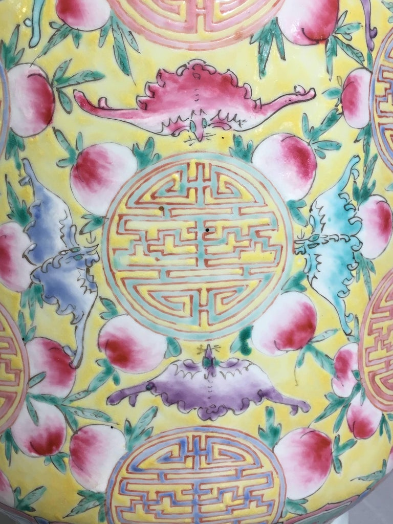 Hand-Painted Large Chinese Late Republic Period Famille Jaune et Rose Porcelain Vase For Sale