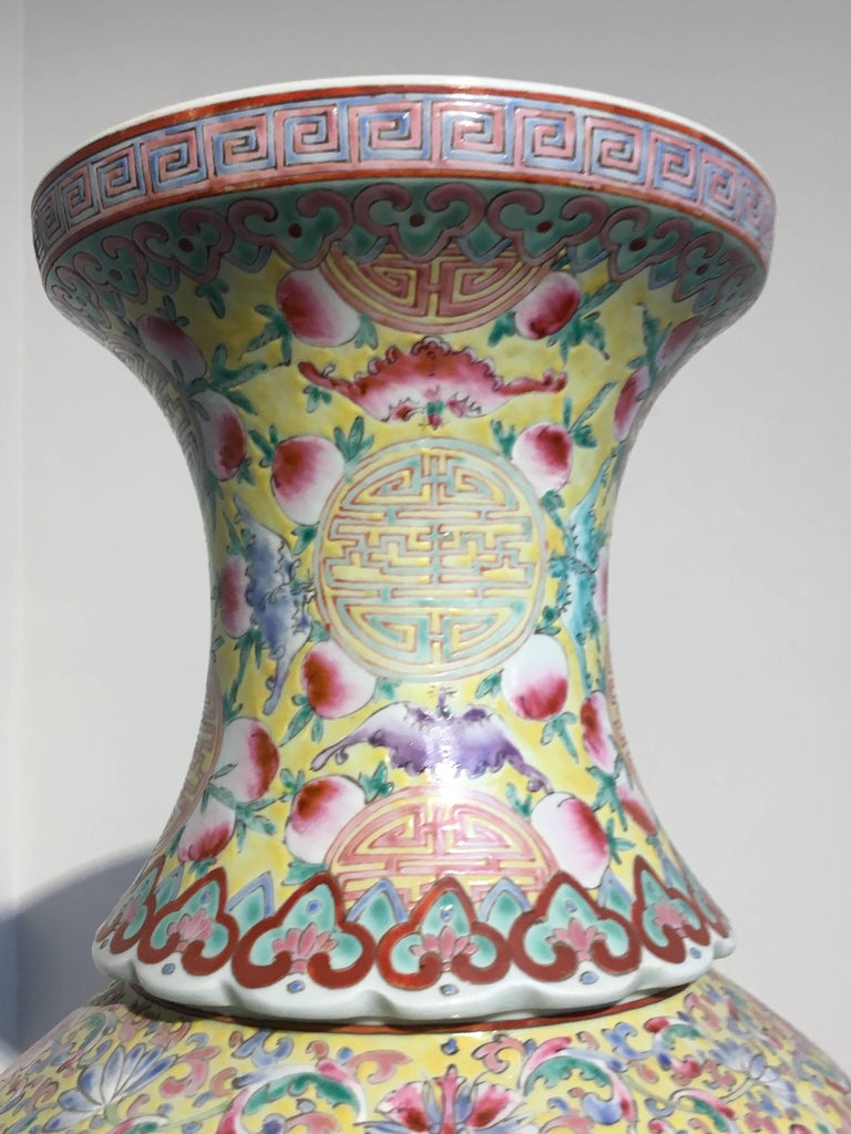 Large Chinese Late Republic Period Famille Jaune et Rose Porcelain Vase In Good Condition For Sale In Austin, TX