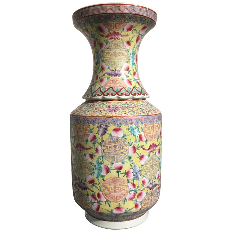 Large Chinese Late Republic Period Famille Jaune et Rose Porcelain Vase For Sale