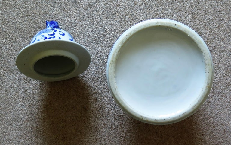 Large Chinese Lidded Vase Blue and White Porcelain Hand Painted Mid-20th Century For Sale 15