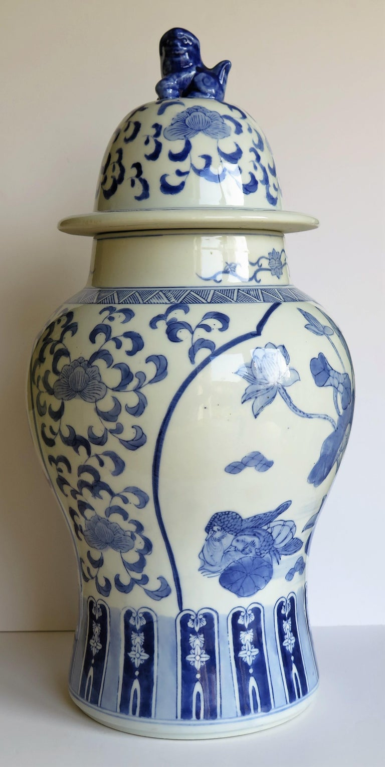 Qing Large Chinese Lidded Vase Blue and White Porcelain Hand Painted Mid-20th Century For Sale