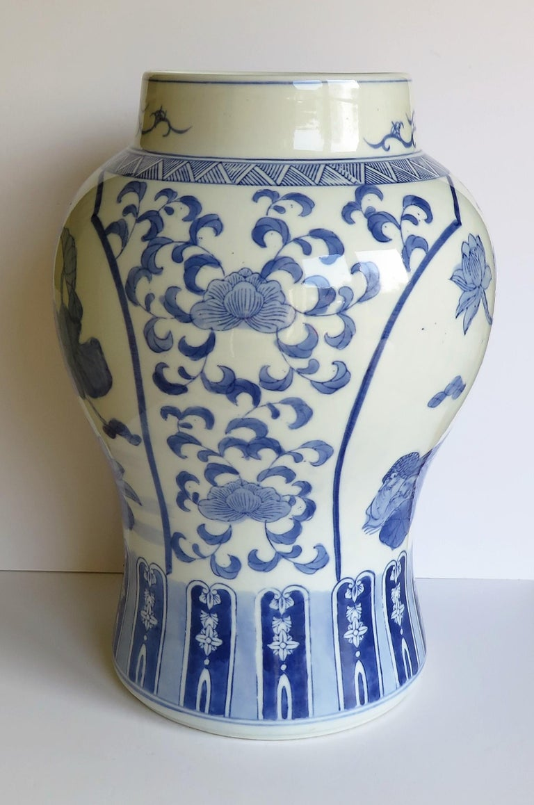 Large Chinese Lidded Vase Blue and White Porcelain Hand Painted Mid-20th Century For Sale 2