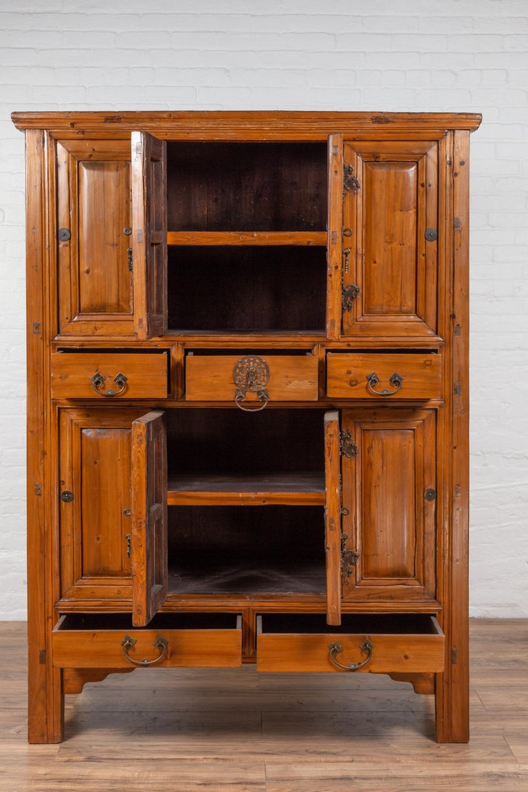 Large Chinese Qing Dynasty Style Wooden Cabinet with Paneled Doors and Drawers For Sale 9