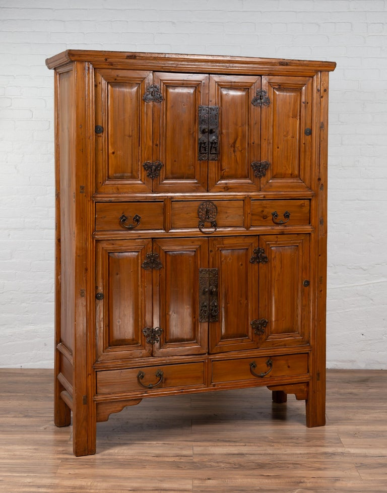 Large Chinese Qing Dynasty Style Wooden Cabinet with Paneled Doors and Drawers For Sale 11