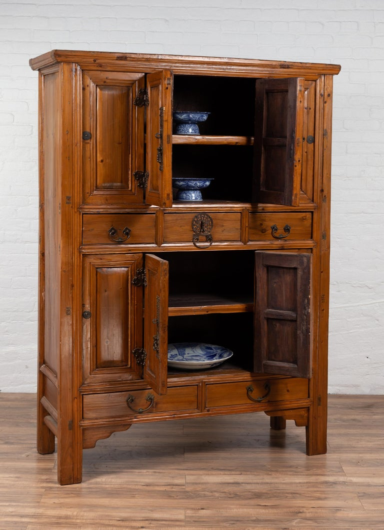 Large Chinese Qing Dynasty Style Wooden Cabinet with Paneled Doors and Drawers For Sale 12