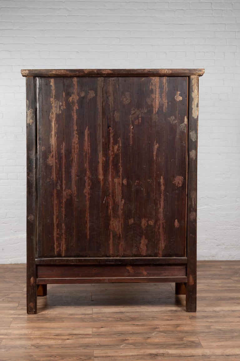 Large Chinese Qing Dynasty Style Wooden Cabinet with Paneled Doors and Drawers For Sale 14