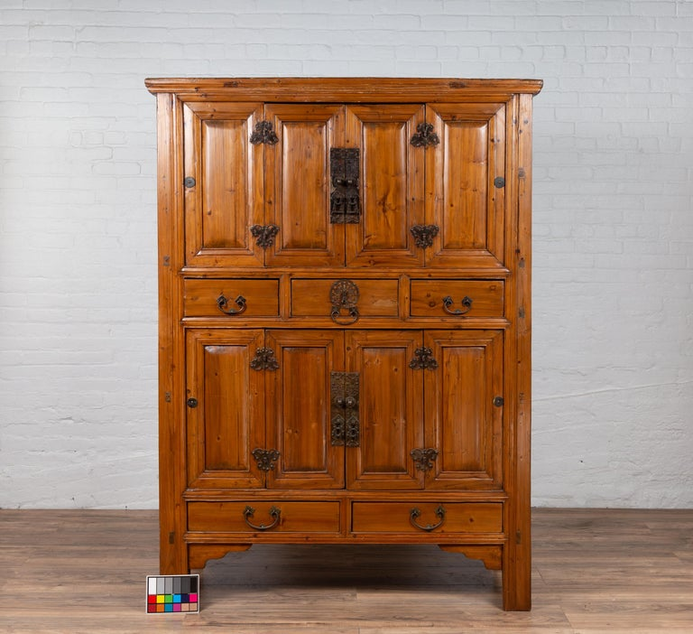 Large Chinese Qing Dynasty Style Wooden Cabinet with Paneled Doors and Drawers For Sale 16