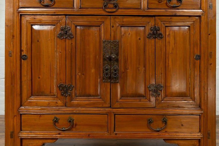 Large Chinese Qing Dynasty Style Wooden Cabinet with Paneled Doors and Drawers For Sale 2