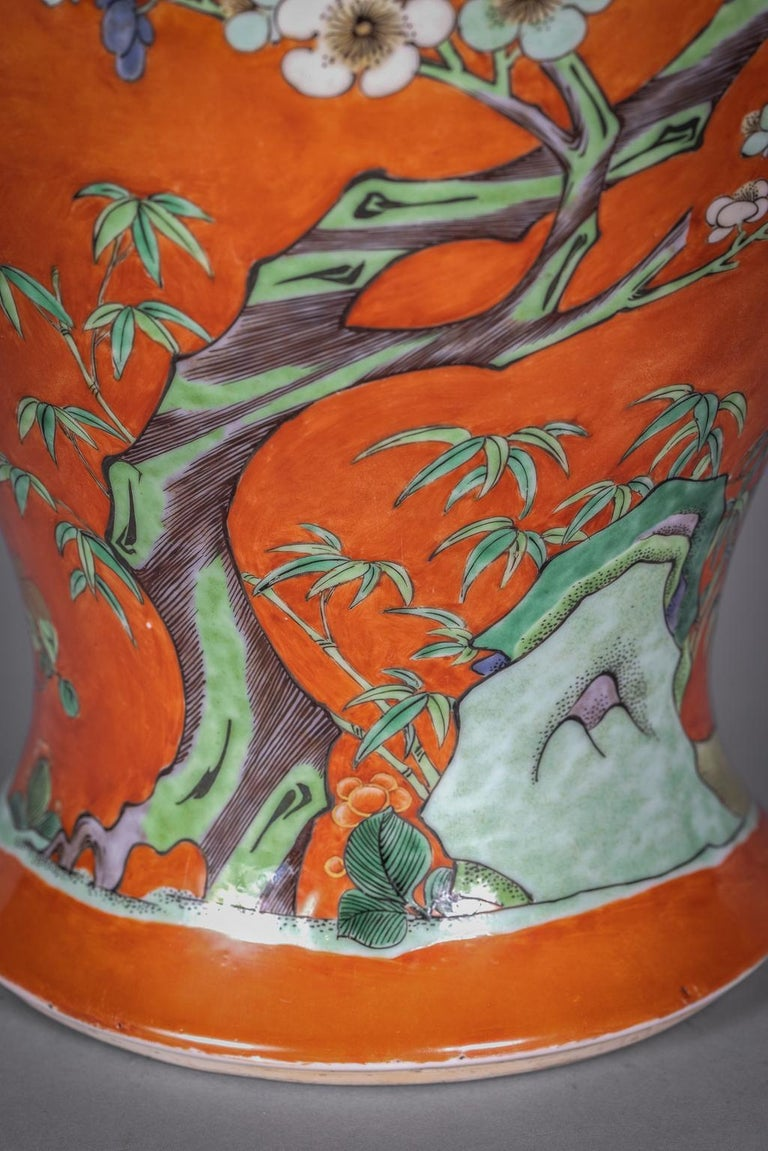 Large Chinese Orange Ground Vase, 19th Century For Sale 2