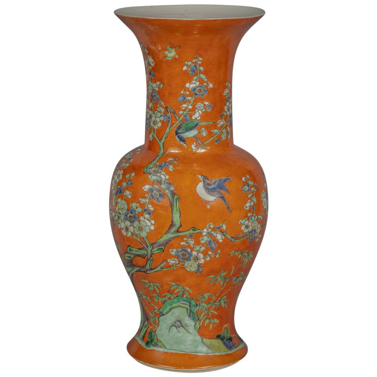 Large Chinese Orange Ground Vase, 19th Century For Sale