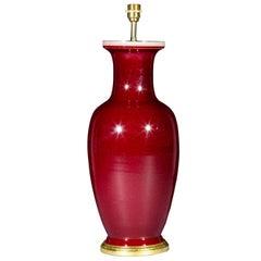 Large Chinese Oxblood Glazed Porcelain Vase Lamp