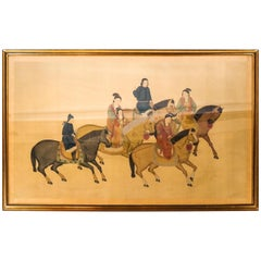 Large Chinese Paint on Silk of Women on Horseback