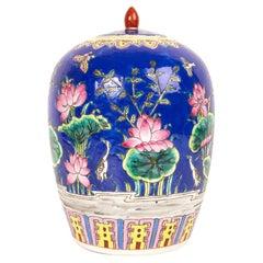 Large Chinese Polychrome Enameled Ginger Jar Vase, China