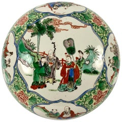 Large Chinese Porcelain Box and Cover, Famille Verte, circa 1900, Qing Dynasty