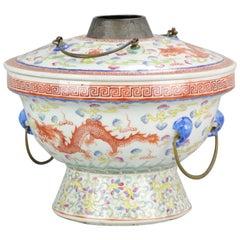 Large Chinese Porcelain Hot Pot SE Asian Straits 19th century Phoenix Dragon