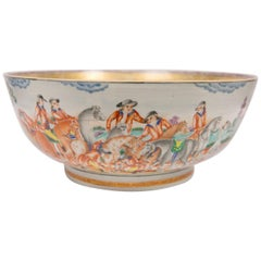 Large Antique Chinese Porcelain Hunt Bowl