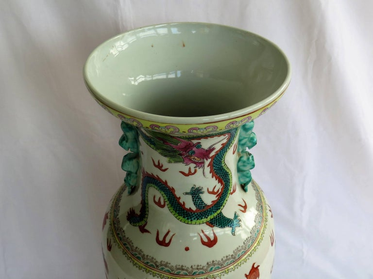 20th Century Large Chinese Porcelain 23 inch Floor Vase Hand-Painted Dragons, Circa 1920 For Sale