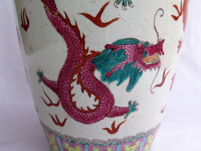 Large Chinese Porcelain 23 inch Floor Vase Hand-Painted Dragons, Circa 1920 For Sale 1