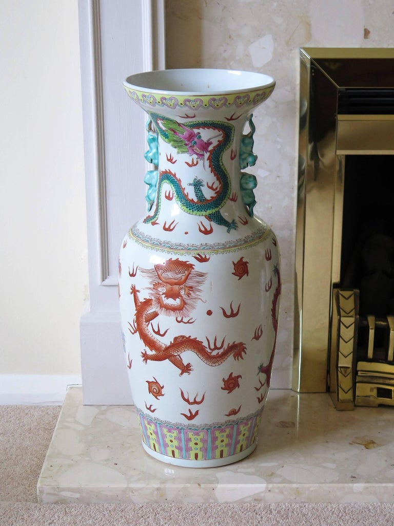 Large Chinese Porcelain 23 inch Floor Vase Hand-Painted Dragons, Circa 1920 For Sale 3