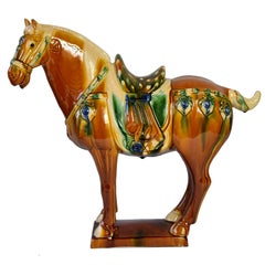 Large Chinese Pottery Horse, Glazed Terracotta San Cai