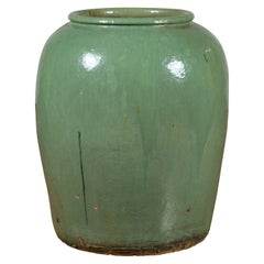 Large Chinese Qing Dynasty 19th Century Green Glazed Storage Jug with Dripping