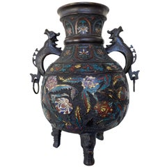 Large Chinese Qing Dynasty Bronze Cloisonné Urn with Dragon Handles, 19th C.