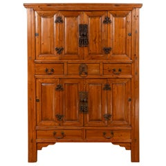 Large Chinese Qing Dynasty Style Wooden Cabinet with Paneled Doors and Drawers