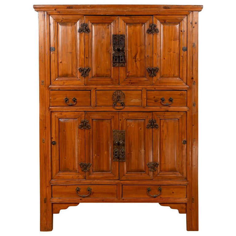 Large Chinese Qing Dynasty Style Wooden Cabinet with Paneled Doors and Drawers For Sale