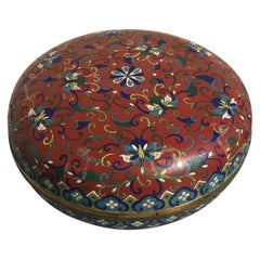Large Chinese Red Cloisonné Round Box, Qing Dynasty, 19th Century, China