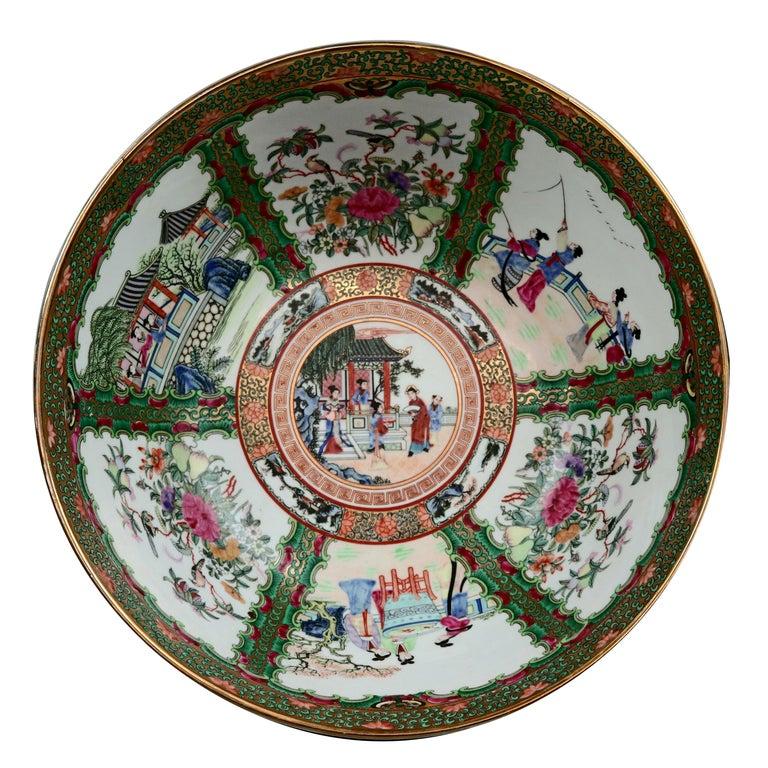 Large Chinese Rose Medallion Hand Enameled and Gilt Porcelain Center Bowl For Sale