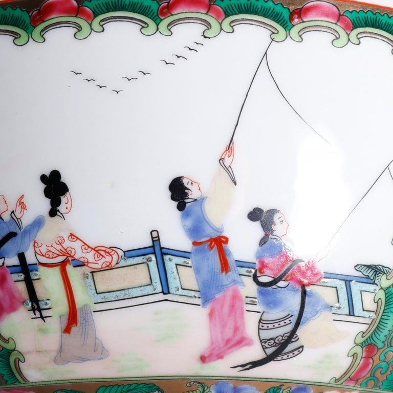 Large Chinese Rose Medallion Hand Enameled and Gilt Porcelain Center Bowl For Sale 5