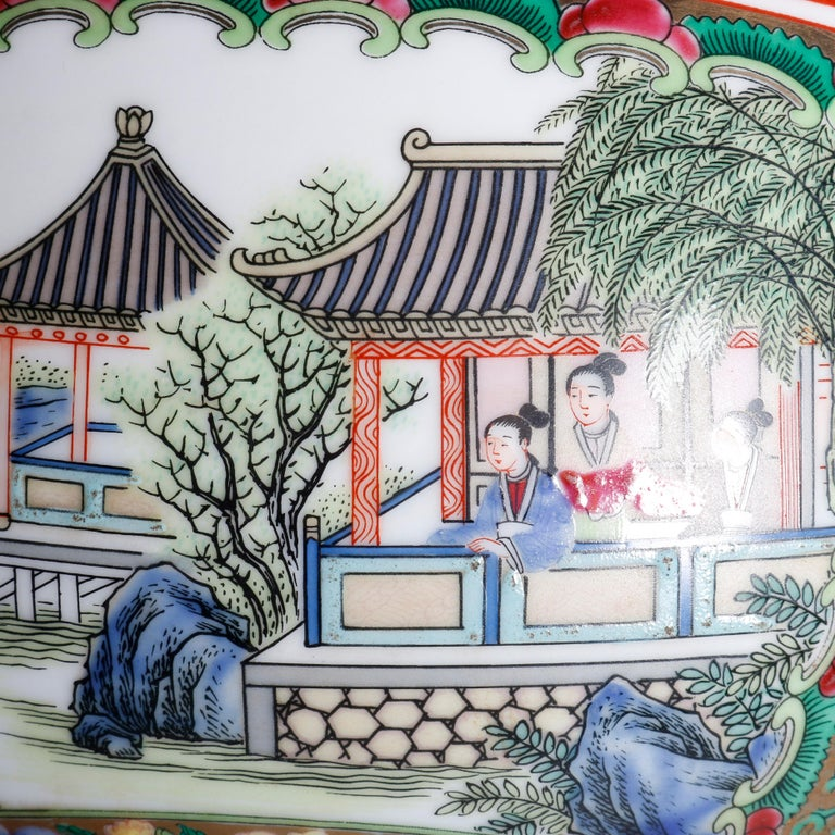 Large Chinese Rose Medallion Hand Enameled and Gilt Porcelain Center Bowl For Sale 6