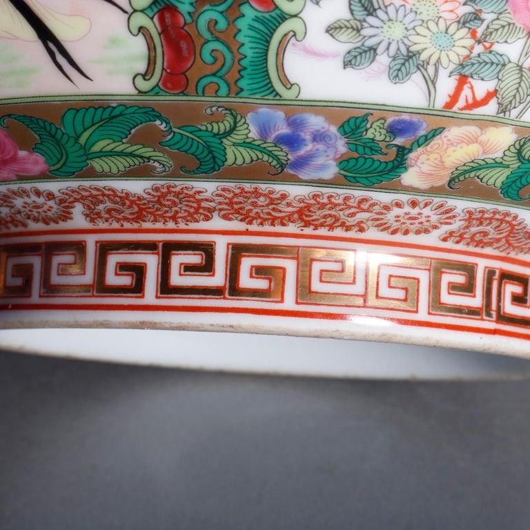 Large Chinese Rose Medallion Hand Enameled and Gilt Porcelain Center Bowl For Sale 7
