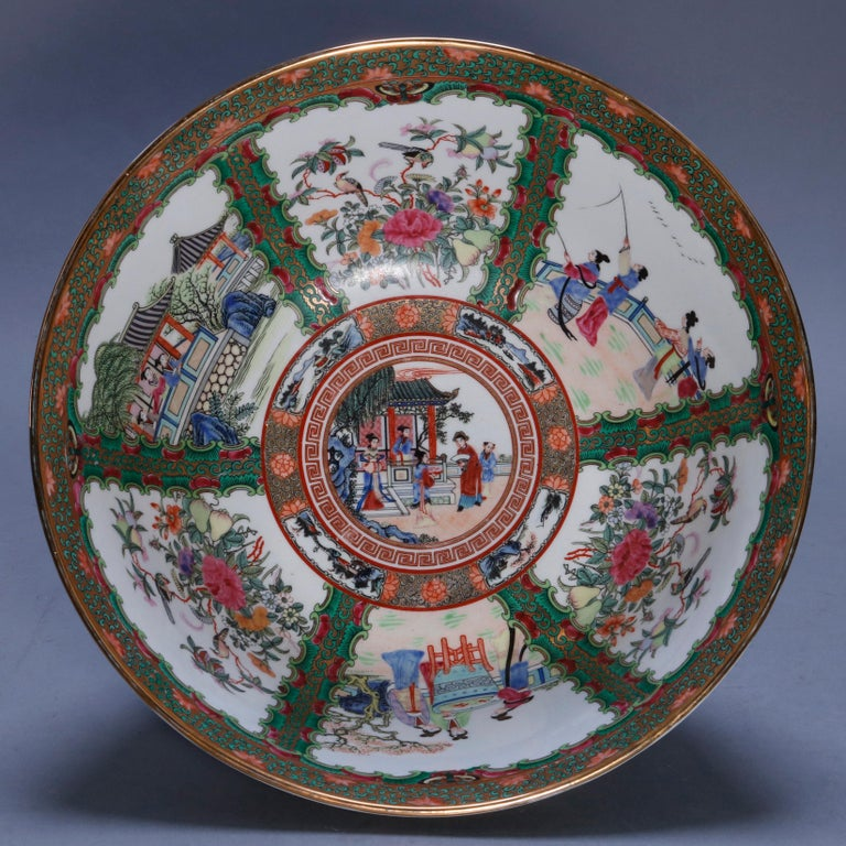 Large Chinese Rose Medallion Hand Enameled and Gilt Porcelain Center Bowl For Sale 9