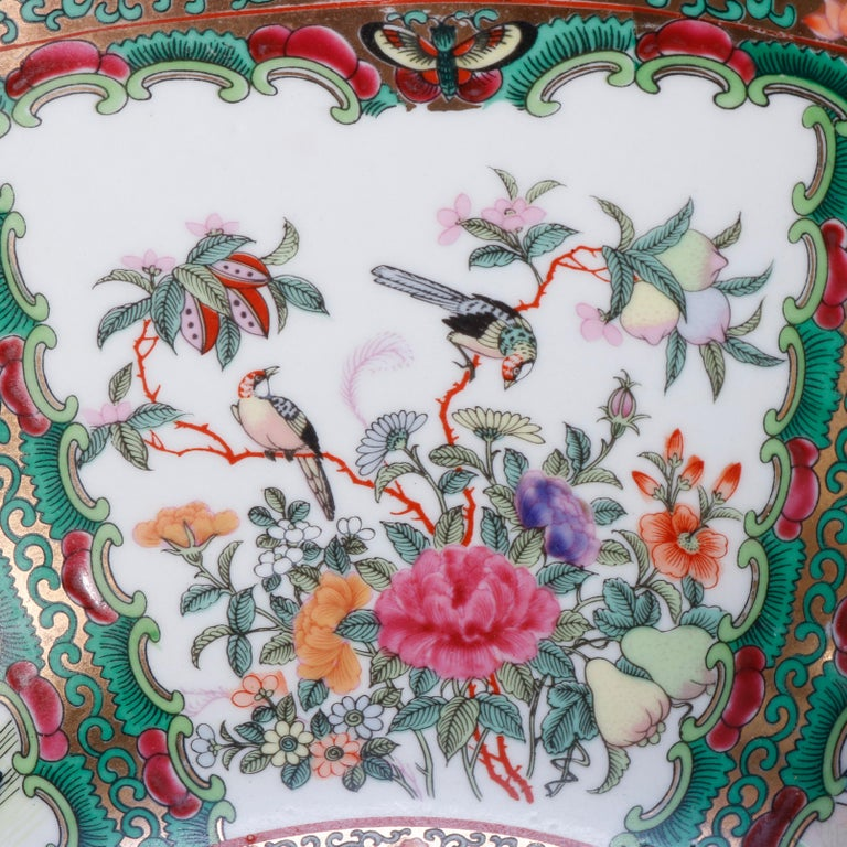 20th Century Large Chinese Rose Medallion Hand Enameled and Gilt Porcelain Center Bowl For Sale