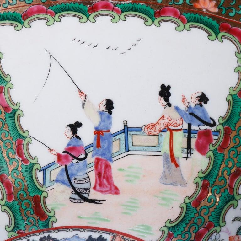 Ceramic Large Chinese Rose Medallion Hand Enameled and Gilt Porcelain Center Bowl For Sale